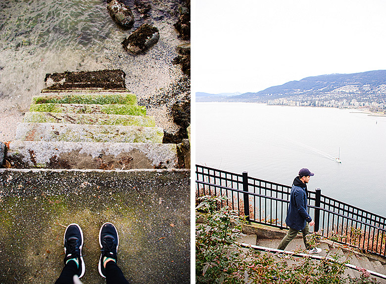 Steps leading down to the water // Justin overlooking West Vancouver