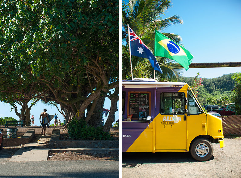 Left: A surfer heading out towards to beach. Right: Crispy Grindz truck