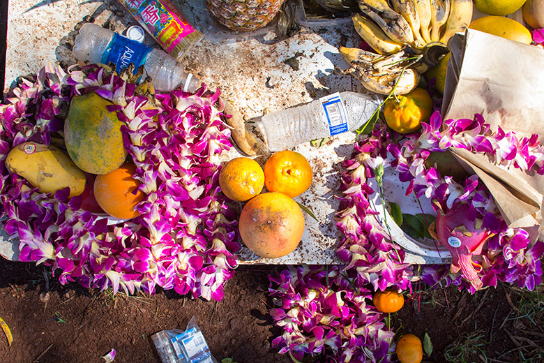 Some of the offerings at the heiau. Mostly leis, some food. Some jerks left garbage. Ugh.
