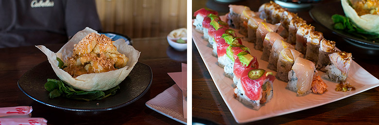 Left: Coconut Shrimp Right: The three specialty rollsLeft: Coconut Shrimp Right: The three specialty rolls