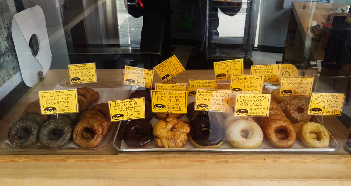 The selection of donuts at Dilla's Delights